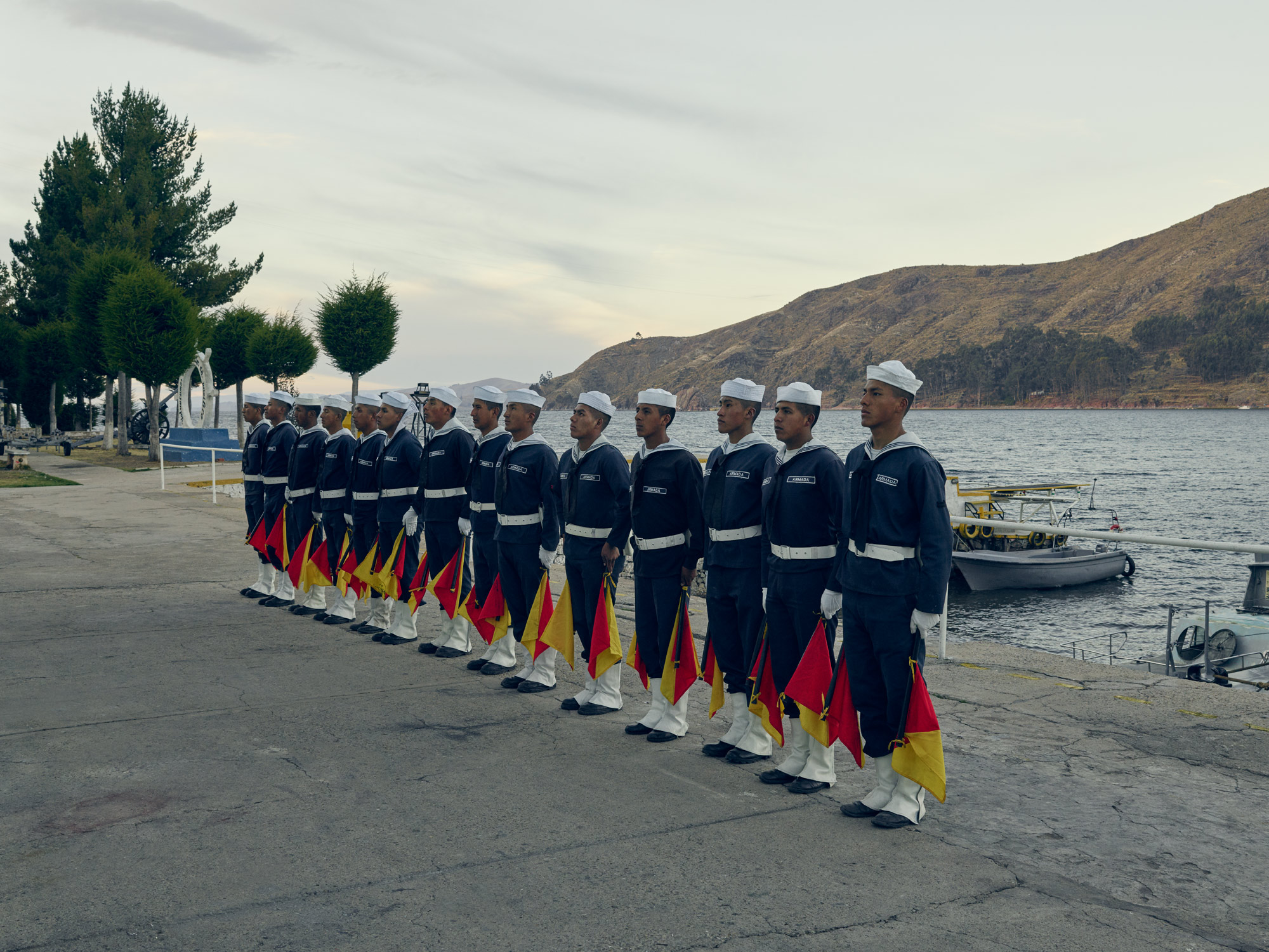 Bolivian Tiquina Navy stand in line
